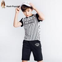 【3折价:119.7元】暇步士童装夏季新款男童短袖套装时尚撞色条纹短袖套装儿童套装