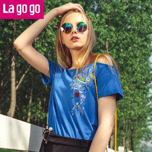 Lagogo/拉谷谷2018年夏季新款时尚气质露肩刺绣短袖T恤HATT315Y04