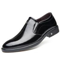 商务休闲皮鞋圆头套脚男鞋英伦真皮结婚鞋欧美潮流牛皮鞋
