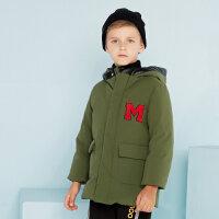 美特斯邦威旗下moomoo童装男童羽绒服中长款鸭绒冬装洋气中大儿童男孩外套