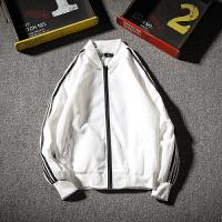 胖人春季新款条纹夹克衫男士加肥加大码青年棒球服外套薄韩版潮流