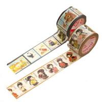 得力30676可撕纸质胶带 复古不干胶标签纸 图案相册 装饰带 图案随机一个装