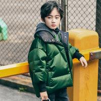 男童棉衣2018新款儿童加厚棉袄冬装中大童韩版潮装短款外套 绿色 130cm(130 约7-8岁 尺码13