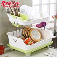 白领公社 置物架 双层厨房置物架放碗盘碗柜沥水架碗架加厚塑料餐具收纳架子