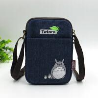 韩版可爱卡通小熊斜挎包女士多层手机包帆布迷你小包包布艺零钱包