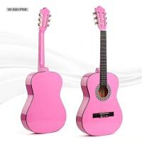 34英寸初学者古典吉他尼龙弦女生儿童练习入门玩具乐器送豪华配件a286 粉红色