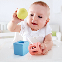Hape几何摇铃经典套0-1岁大米材质积木手抓宝宝儿童婴幼玩具摇铃床铃安抚E0454
