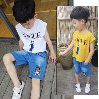 童装男童套装新款夏装韩版中大童薄款无袖T恤+牛仔短裤套装潮