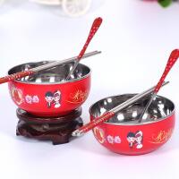 婚庆用品不锈钢碗筷套装结婚对碗餐具回礼品隔热红碗
