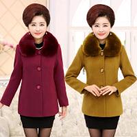 中老年女装秋冬装毛呢子大衣妈妈装大码短款大毛领加厚呢子外套