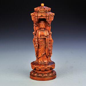 黄杨木西方三圣佛龛