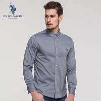 U.S. POLO ASSN.男装长袖衬衫男士时尚商务休闲衫衣纯色衬衫2018春季新款