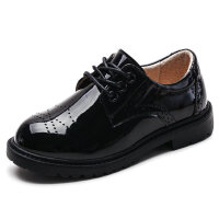 男童皮鞋黑色2018新款冬秋英���L童鞋�和�小皮鞋透��W生演出鞋潮