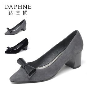 Daphne/达芙妮 秋季蝴蝶结方跟低跟浅口女单鞋