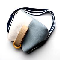 【5.5折价:302元】女士手提包牛皮揪揪包2019新款小手拎包撞色大容量宽肩带水桶包