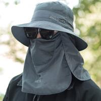 夏天遮阳帽渔夫帽户外登山太阳帽遮脸防晒帽防紫外线钓鱼帽
