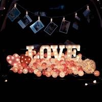 求婚表白神器字母装饰灯求婚套餐后备车厢的浪漫布置创意