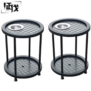征伐 麻将机茶几 棋牌室多功能方形塑料茶水架家用加厚麻将机配件带烟灰缸不锈钢圆形茶水台