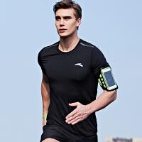 安踏短袖T恤男 2018夏款紧身速干短t男士训练透气健身衣运动上衣