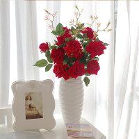 仿真花束长杆玫瑰假花绢花装饰花艺家居饰品客厅餐厅房间陈设摆件 5枝红色长杆玫瑰+大号波纹白瓶