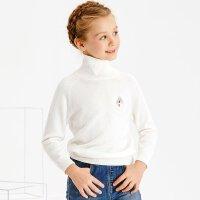 【2件3折到手价:37.5】米喜迪mecity童装冬款女童毛衣胸口绣花净色高领打底长袖毛衫