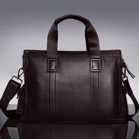 男士手提包横款大容量公文包商务真皮背包休闲单肩斜挎牛皮电脑包