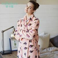 欧卡蔻冬季睡袍女士中长款可爱冰激凌图案法兰绒睡裙珊瑚绒睡衣女