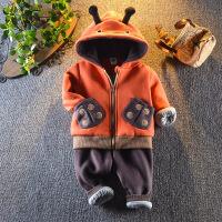 男童冬装加厚套装新款3宝宝卡通连帽外套4岁小童2洋气卫衣两件套1
