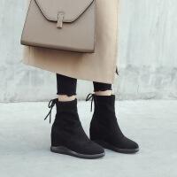 乌龟先森 短靴女 内增高新款加绒靴子坡跟马丁靴女学生黑色绒面棉鞋秋冬冬