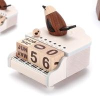 木质音乐盒八音盒女生儿童生日圣诞节礼物钢琴小鸟万年历 钢琴鸟万年历音乐盒(空运)
