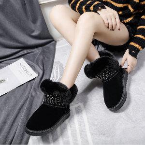 女式 秋冬季短筒雪地靴女新款韩版百搭水钻学生冬季加绒加厚棉鞋