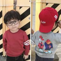 春季童装男女宝宝红色卫衣纯棉卫衣薄款外套灰色棒球服卡通打底衫