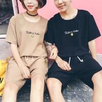 情侣装夏季2018潮 韩版宽松短袖T恤夏季休闲个性套装学生班服
