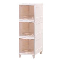玩具收纳柜夹缝塑料收纳箱子零食储物柜简易床头柜客厅翻盖整理柜 3个