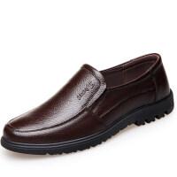 秋季男士休闲皮鞋透气中老年人软底凉鞋男鞋镂空爸爸老人鞋子 D8827套脚 棕色 四季款