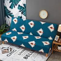 简易弹力沙发床套子无扶手沙发折叠紧包式沙发套全包垫沙发罩 花色 蓝羽毛ZR 适合150~190cm的沙发床