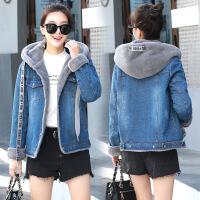 冬季新款韩版牛仔棉衣女短款加绒加厚学生宽松连帽外套显瘦潮