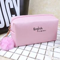 时尚方形毛球化妆包化妆袋便携手拎旅行化妆箱化妆品收纳包洗漱包