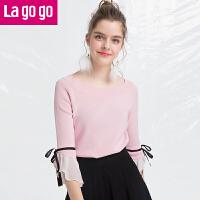 【5折价109.5】Lagogo/拉谷谷2018年春季新款时尚一字领喇叭袖针织衫HAMM432M16