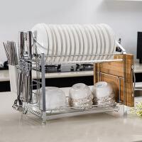 双层厨房置物架碗筷沥水架碗碟架落地储物架收纳架厨房用品 白色