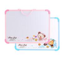 得力学生迷你可爱小白板 7803可悬挂磁性白板儿童画板 30*40cm 粉色