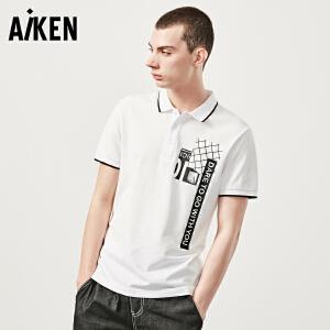 森马旗下Aiken 纯棉短袖保罗衫男装夏日翻领体恤字母撞色男式半袖上衣polo衫