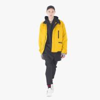 2018冬季新款棉衣男 潮牌短款黄色外套男士青年方领棉袄 黄色