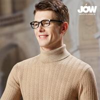 乔沃秋冬高领纯羊毛衫男加厚扭花纯色羊毛毛衣休闲针织打底