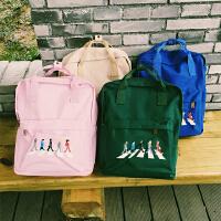 韩国韩版复古卡通纯色帆布手提双肩包情侣书包学生女文艺背包