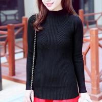 韩版秋冬新款女装针织衫条纹修身打底衫上衣套头半高领毛衣女