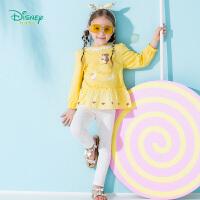 【3件2.6折到手价:69.9】迪士尼Disney童装女童长袖套装秋装新款迪斯尼公主后开t恤长裤2件套191T904
