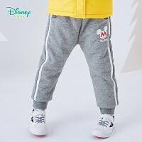 迪士尼Disney童装 男宝宝保暖加厚长裤冬季新品儿童外出防寒加绒裤子 194K853