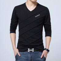 春季新款男士V领长袖T恤加肥加大码黑色打底衫韩版上衣服男装卫衣qg