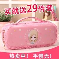 花语姑娘笔袋韩国简约女生文具盒小学生可爱清新大容量女孩铅笔盒